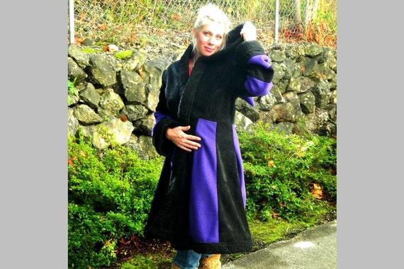 Women Long Fleece Coat with Faux Fur Trim, Pixie Carousel Full Length Winter Even Clothing