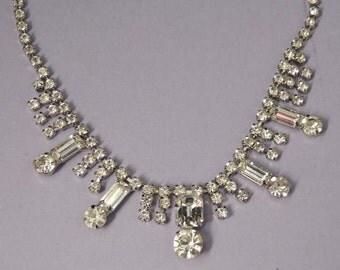 Vintage Rhinestone Necklace Wedding Necklace / Wedding Jewelry / Bridal Necklace / Bridal Jewelry
