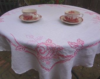 Vintage Square Tablecloth / Hand Embroidered Rose Cloth