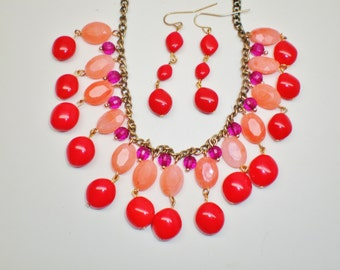 Vintage Valentine Red Art Glass Lucite Necklace Waterfall Bib Dangle Earring Set Fuchsia Rose Teardrops Cleopatra Revival Statement