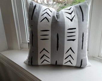 "RTS Pair of 18 x 18"" Grey and white African mud cloth inspired, cotton throw pillows with insert"