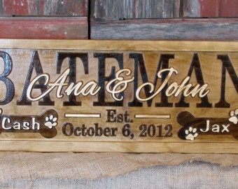 Personalized Family Dog Name Signs custom wedding gift 3D CARVED Wooden Sign Last name Anniversary plaque Dog bone paws home camper cabin
