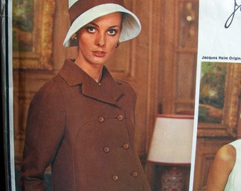 VOGUE Jacques Heim Pattern 1999 - 1960s Vogue Paris Original High-fitted double-breasted A-line coat and Drop Waist Dress * Bust 36
