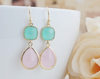 Mint Opal and Ice Pink Opal Glass dangle earrings drop earrings Wedding Jewelry Bridesmaid Earrings Bridesmaid gifts Bridesmaid jewelry