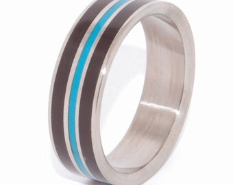 wedding rings, Titanium Wedding Rings, Mens Rings, Womens Rings, Unique Wedding Rings, Eco-Friendly Rings, Turquoise Ring - CRAZY HEART