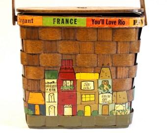 Vintage 1960s Caro Nan Decoupage Basket Purse with 1965D penny