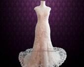 Modest Vintage Lace Champagne Wedding Dress with Cap Sleeves   Lace Wedding Dress   Modest Wedding Dress   Vintage Wedding Dress   July