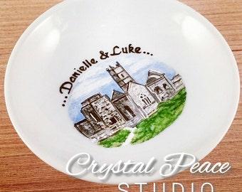 Hand Painted Ring Dish - Engagement Location - Destination Wedding - Custom