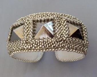 Silver Stud Beadembroidered Bracelet Cuff