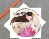 Lovely Girl Greeting Card Thinking of You