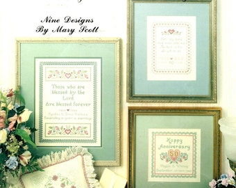 Happy Anniversary Personalized Samplers Names Dates Hearts Romantic Counted Cross Stitch Embroidery Craft Pattern Leaflet Leisure Arts 995