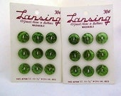 Lot Of 2 Pkgs. Of Vintage Lansing Green Plastic Buttons