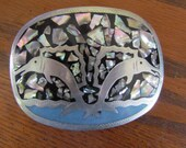 Vintage Mexican Abalone Inlay Dolphin Belt Buckle