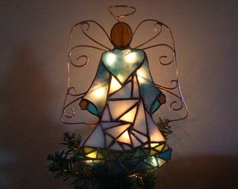 White and Teal Mosaic Angel of Lights - Christmas tree topper