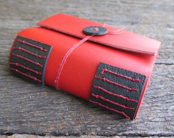 A7 Red and Black Leather Journal