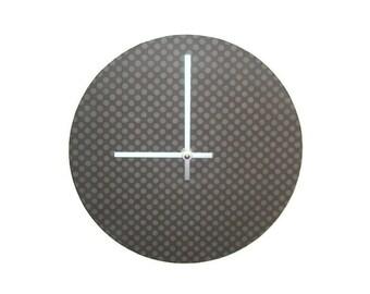 Gray Minimalist Wall Clock -  Unique Wall Decor - Modern Clock - Minimalist Home Decor - Unique Wall Decor - Gray Polka Dot Clock - 1577