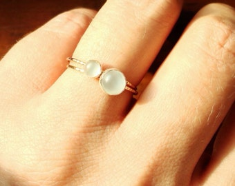 Select Two Stones - SOLID 14k Gold Stack Rings - Dainty Delicate Birthstone Orbs - Simple Beautiful 14K Gold Stack Rings