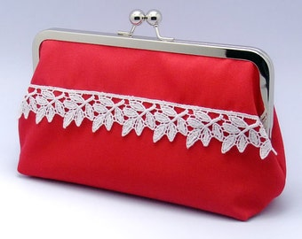 LAST - White leaf pattern trim on rose red - Large Clutch Purse (L-082) R1