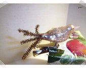 Mercury Glass Bird Clip-on Ornament w/ Metallic Chenille Tail/Soft Pink Color/ Holiday Decor*