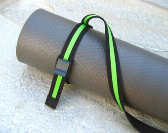 Strap a Mat YOGA MAT SLING Tote & Yoga Strap in Black Webbing / Neon Green Ribbon Stripe -- One Ready to Ship