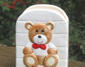 Baking Soda Holder, Teddy Bear ceramic, unused 80s by Current