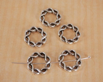 5 Circle Connectors, Spacers, Antique Silver,DIY Jewelry