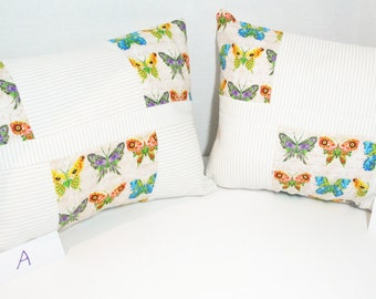 Butterfly patchwork pillow cover, colorful butterfly cushion, stripes, script, purple, red, yellow, green, 12x16 inches