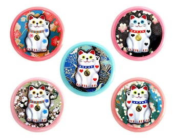 "Lucky Cat Button, Maneki Neko Cat Pinback Button, Small Badge, Japanese Lucky Cat, 1.25"" Button"