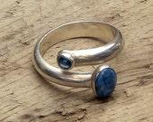 Denim Lapis & Blue Topaz Wrap Ring in Sterling Silver - Size 7 1/2