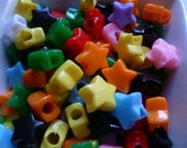 100 Star Shaped Pony Beads in Random Color Assortment Variety Pack