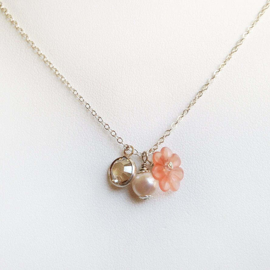 Peach Pearl Necklace: Peach Charm Necklace Delicate Pearl By Bellebridaljewelry