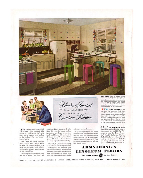 Armstrong Linoleum Vintage Ad  Retro Kitchen  1940 s Kitchen  Retro Ad    Retro Kitchen Ad