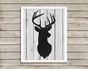 Digital Dictionary Art Print - STAG SILHOUETTE - 8x10 Size