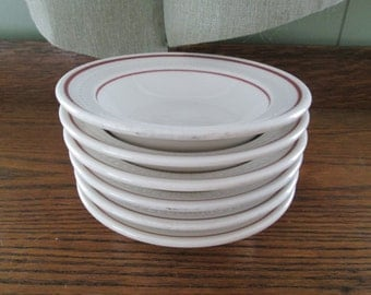 6 Syracuse China Dessert Bowls Restaurant Ware - Arden Cedar Rose Syrene Shape White with Burgundy Band
