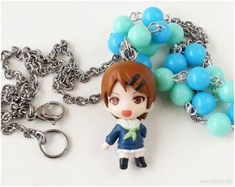 Kuroko no Basuke Riko Aida Necklace, Beaded Chain, Blue, Teal - Kawaii Jewelry, Anime Figure