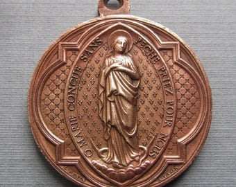 Antique Gothic Religious Medal Immaculate Virgin Mary Signed Penin   SS-175