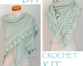 DIY Crochet Kit, Crochet shawl kit, ASHLEY, Mint Green, yarn and pattern