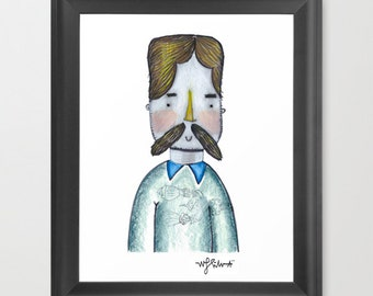 Hipster with a BIG mustache doodle Print - Dapper mustached Doodle illustration - Artist Trading Cards - ATC, ACEO - Modern Home Decor