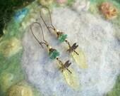 Garden Dragonfly Earrings, Yellow Leaf,