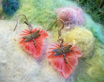 Garden Dragonfly Earrings, Holiday Red