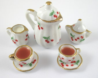 Dollhouse Miniature Food Tea Set on Cherry Plates in 12th Scale