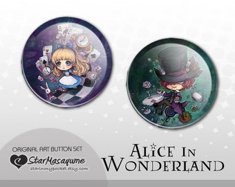 Alice and the Mad Hatter Buttons