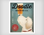DOODLE BEER Wine Coffee or Tea Goldendoodle Labradoodle Brewing Company Pigment Poster Print Giclee