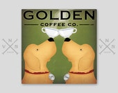 FREE Custom PERSONALIZED Double Dog GOLDEN Retriever Coffee or Tea Company Stretched Canvas Signed