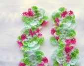 Appliques hand crocheted flowers motif  set of 6 spring flower cotton 1.5 inch