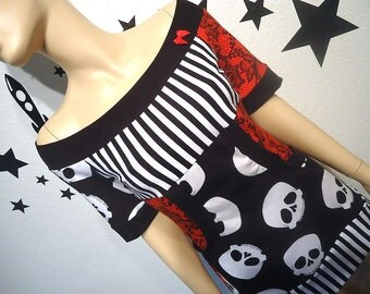 Skulls and Stripes • Kangaroo Pocket • Off Shoulder • Top • Shirt • Custom Size • Small / Medium / Large / XL