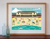 Vintage Style Print of Bondi Beach, Sydney