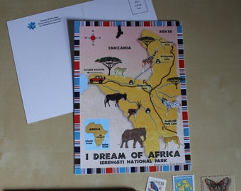 I Dream of Africa Map Postcard - Illustrated Map