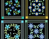 PRETTY FLOWER QUILTBLOCKS -30 Machine Embroidery Design Pack (AzEB)