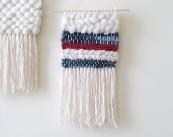 Woven Wall Hanging | Denim and Red Weaving